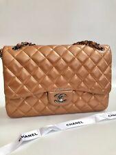 Edición Limitada Chanel Caviar Acolchado Jumbo Doble Solapa Bolso Cobrizo