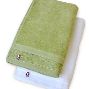 X2 Japanese IMABARI Bath Towel Cotton 100% 120 x 60 cm Made in JAPAN White Green