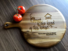 LARGE Personalised House Warming Gift- Round Wood Paddle Serving/ Cheese Board