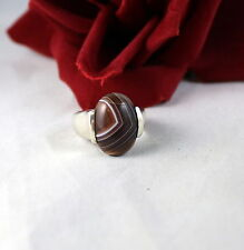 Sterling Silver Striped Gemstone 12g Ring Size 7 Cat Rescue