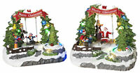 Christmas Musical Snow Village Town City Scene Light Up Moving Trees Set of 2