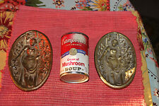 Antique Art Deco Bronze Metal Candy Soap Dish-Pair-Woman Flowers Backside