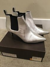 Silver Gucci Ankle Booties, Sz 38 1/2