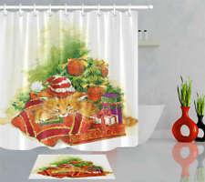 Orange Cat Waterproof Bathroom Polyester Shower Curtain Liner Water Resistant