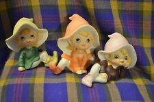 Group of 3 Vintage Homeco Porcelain Elves/Pixies in Soft Pastel Colors-Taiwan