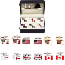 Flags US Great Britain Canada USA 6 Pairs Assorted Cufflinks Fancy Gift Box
