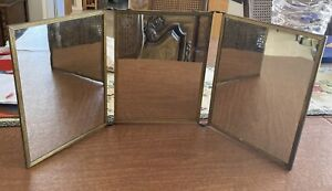 Vintage Trifold Mirror Hanging Or Stand