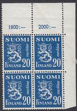 FINLAND :1950 20m blue SG 442 nh mint corner block of four