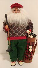 "Golfing Santa Claus Figurine w/ Golf Clubs, Balls, Bag 15.5"" Christmas St. Nick"