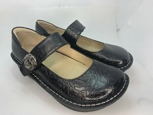 Alegria Paloma 531 Black Embossed Rose Shoes Womens Size US 7-7.5 (DD32)