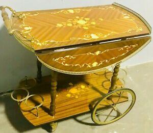 Vintage Italian Marquetry Inlaid Brass & Wood Tea/Bar Cart