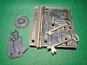 COMPLETE HUGE RHC RIM LOCK CIRCA 1870-1880 w/KEYS & ESCUTCHEONS  (12018)