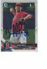 2018 Bowman Chrome 1st Bowman Bryan Mata Boston Red Sox Authentic Autograph COA