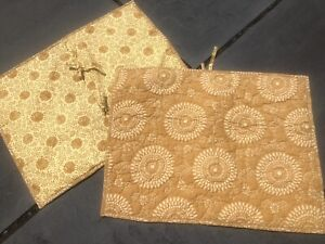 PINE CONE HILL 2 standard pillow SHAMS Quilted GOLD mustard medallion