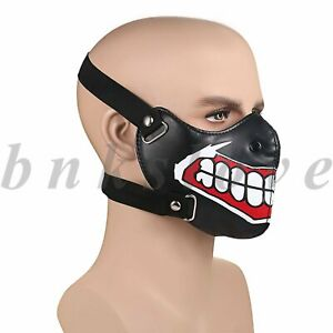 Punk Teeth Pattern Leather Mask Motorcycle Biker Half Face Mask Anti-Dust Cover