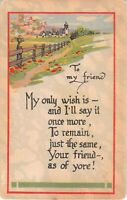 Rural Church Scene on Old Art Deco Friendship Motto Postcard-My Only Wish Is-And
