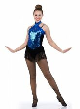 Out With The Stars Dance Tap Costume BLUE Fringe Skirted Leotard Child Large
