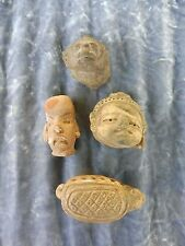 AUTHENTIC 3 ASSORTED PRE COLOMBIAN FRAGMENT HEADS AND ONE TURTLE
