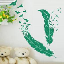 Sticker Décoration Plumes et son Envolée d'Oiseaux ( 30x20 cm à 50x33 cm)