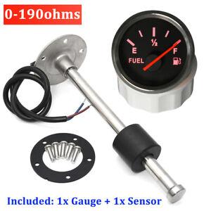 52mm Car Fuel Level Gauge Meter 0-190ohms with 200mm Fuel Level Sensor Sending