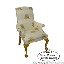 Thomasville Custom Lion Coat of Arms Upholstered Ball & Claw Wing Chair