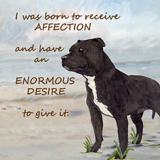 STAFFORDSHIRE BULL TERRIER STAFFIE DOG HARDBOARD PLAQUE TILE WATERCOLOUR PRINT