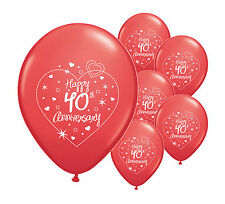 "10 x 40th RUBY ANNIVERSARY 11"" HELIUM QUALITY PEARLISED BALLOONS (PA)"