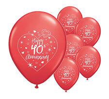 "10 x 40th RUBY ANNIVERSARY 11"" HELIUM QUALITY PEARLISED BALLOONS (PA)"