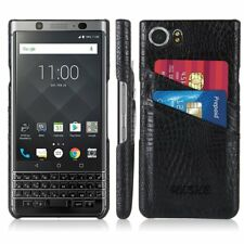 BlackBerry KEYone Wallet Case PU Leather Card Slots Ultra Slim Back Cover Black