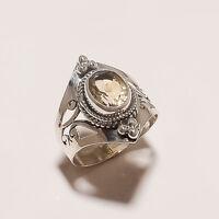 3.60 Gm Natural Citrine Ring Gemstone 925 Solid Sterling Silver Size 6 i-2698