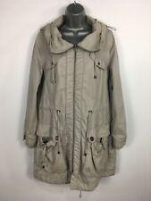WOMENS INDIGO M&S GREY ZIP UP HOODED FITTED FLEECE LINED WARM WINTER COAT UK 12
