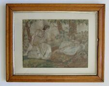 Antique1800's Regency Silk Embroidery Art Romantic Couple Burled Maple Frame