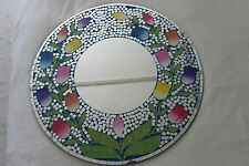 Superb Hand Crafted Mosaic Mirror With Flowers In Blue Background  60 Cm Wide