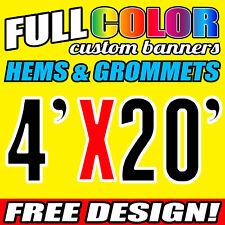Custom Banner 16oz Vinyl/Flex 4' X 20' FeeT Outdoor Personalized Advertise Signs