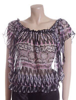 New Sheer Blouse Size 12 14 16 in Pink & Black Aztec Print Sheer Top By Carbon