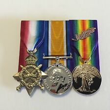 1914-15 Star, British War Medal, Victory Medal MID, Replica Full Size WWI Set.