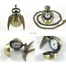 New Harry Potter Snitch Watch Pendant Necklace Steampunk Quidditch Wings Clock