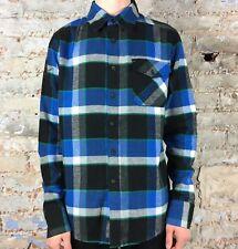 Fox Warped Long Sleeve Flannel Shirt in Black Size S,M