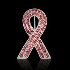 Awareness Brooch Silver Pin Ribbon Crystal Pink Rhinestone Breast Cancer
