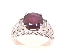 Gorgeous Natural Ruby & Genuine Diamond Solid Platinum Band Ring