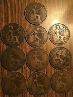 1911- 1920 SET OF KING GEORGE V UK GB GREAT BRITAIN ONE PENNY (10 COINS)