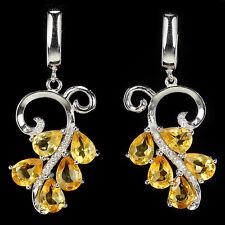 Ohrringe Citrin & CZ 925 Silber 585 Weißgold