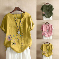 Women Casual Loose Cotton And Linen Short Sleeve Crew Neck T-shirt Blouse Tops
