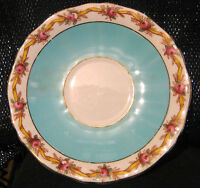 1x Adderley china Pretty Saucer in duck egg blue and rose rim design. 5 1/2 ins