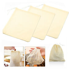 3Pcs Organic Cotton Nut Milk Bag Reusable Food Strainer Brew Coffee Cheese Cloth