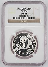 1993 China 1/2 Oz 999 Silver Panda 5 Yuan Coin NGC MS68 GEM BU