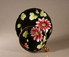 Splendid Handpainted Black with Pink Peonie Cup and Saucer, Occupied Japan