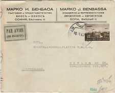 Bulgaria WW2 censored airmail cover to Berlin Germany 1940 .