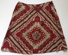 Grace Elements Women's Cotton Skirt Sz 10 Lined Fall Colors Beige Brown Orange