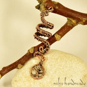 Spiral Antiqued Copper Tree Of Life Viking Hair Beads Beard Dreadlock Accessory